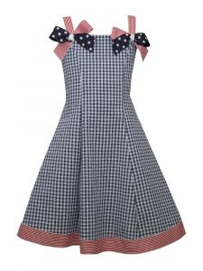 Bonnie Jean Big Girls Navy Striped Ribbon Bows Strap Sundress 7-16