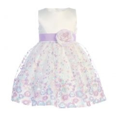 Swea Pea & Lilli Little Girls Ivory Lilac Satin Organza Flower Girl Dress 5