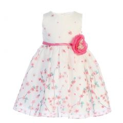 Swea Pea & Lilli Little Girls Ivory Fuchsia Floral Print Flower Girl Dress 2T-6