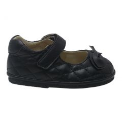 Angel Baby Girls Black Quilted Strap Bow Mary Jane Shoes 1-3 Baby