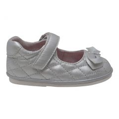 Angel Baby Girls Silver Quilted Strap Bow Mary Jane Shoes 1-3 Baby