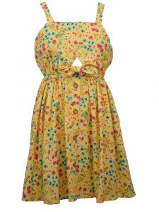 Bonnie Jean Big Girls Yellow Floral Tie Waist Strap Sundress 7-16