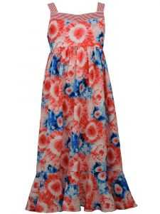 Bonnie Jean Big Girls Red Sleeveless Tie Dye Maxi Print Sundress 7-16
