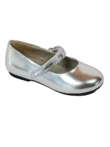 Pazitos Little Girls Silver All American Mary Jane Shoes 4 Baby- 9.5 Toddler