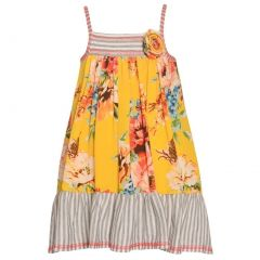 Bonnie Jean Big Girls Gold Floral Stripe Print Spaghetti Strap Dress 7-16