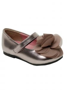 Pazitos Girls Taupe Silk Flower Accent Mary Jane Shoes 4 Baby-11 Kids