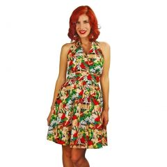 Mythereal Womens Green Yellow Red Aloha Honey Halter Strap Dress S-XL