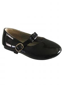 Pazitos Baby Girls Black Patent T-Strap Bow Mary Jane Shoes 4 Baby