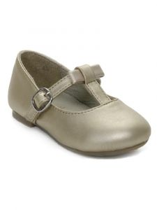 Pazitos Little Girls Champagne T-Bow Mary Jane Shoes 4 Baby-9.5 Toddler