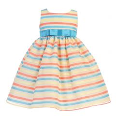 Lito Baby Girls Ivory Multi Color Stripes Organza Spring Easter Dress 6-24M
