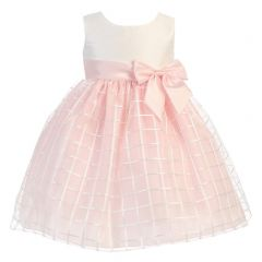 Lito Little Girls Pink Poly Silk Embroidered Organza Easter Dress 2T-6