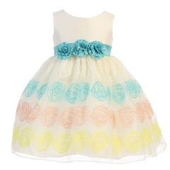 Lito Little Girls Ivory Poly Silk Flower Embroidered Organza Easter Dress 2T-6
