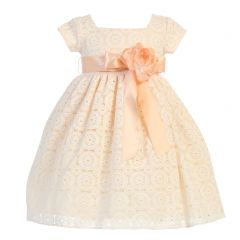 Lito Little Girls Peach Floral Vintage Overall Lace Flower Sash Easter Dress 2-6