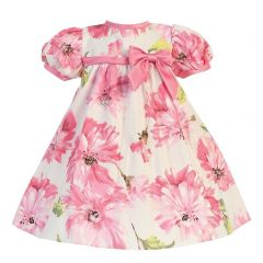 Lito Baby Girls Pink Short Sleeve Floral Cotton Print Easter Dress 0-24M