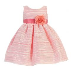 Lito Little Girls Coral Sleeveless Striped Organza Easter Flower Girl Dress 2T-6