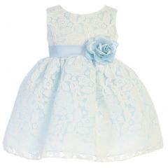 Swea Pea & Lilli Baby Girls Light Blue Floral Tulle Easter Dress 6-24M