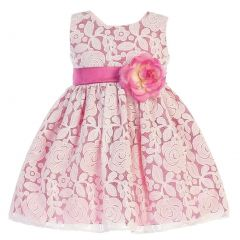 Swea Pea & Lilli Big Girls Fuchsia Floral Tulle Adorned Easter Dress 7-10