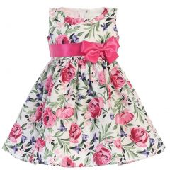 Swea Pea & Lilli Little Girls Fuchsia Cotton Floral Print Bow Easter Dress 2T-6