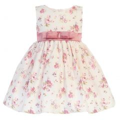 Swea Pea & Lilli Little Girls Dusty Rose Cotton Floral Bow Easter Dress 2T-6