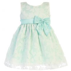 Swea Pea & Lilli Little Girls Mint Burnout Floral Organza Easter Dress 2T-6