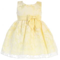 Swea Pea & Lilli Little Girls Yellow Burnout Floral Organza Easter Dress 2T-6