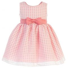 Swea Pea & Lilli Little Girls Coral Burnout Squares Organza Easter Dress 2T-6