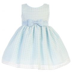Swea Pea & Lilli Little Girls Light Blue Burnout Squares Easter Dress 2T-6