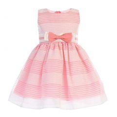 Swea Pea & Lilli Baby Girls Coral Striped Organza Bow Flower Girl Dress 6-24M
