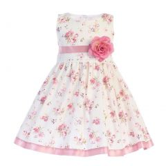 Swea Pea & Lilli Girls Pink Floral Printed Cotton Flower Girl Dress 2T-7