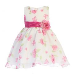 Swea Pea & Lilli Baby Girls Fuchsia Floral Butterfly Flower Girl Dress 12-24M
