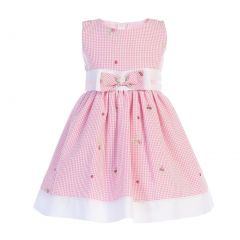 Swea Pea & Lilli Baby Girls Pink Seersucker Bow Cotton Flower Girl Dress 3-24M