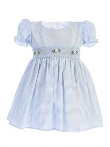 Lito Baby Girls Light Blue Stripes Smocked Waist Easter Dress 3-24 Months