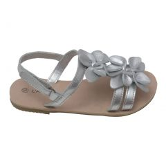 L'Amour Girls Silver Flower Blossom Accent Strap Sandals 11-4 Kids