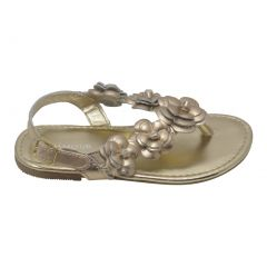 L'Amour Girls Gold Flower Blossom Accent Buckle Thong Sandals 7-10 Toddler