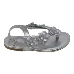 L'Amour Girls Silver Flower Blossom Accent Buckle Thong Sandals 12 Kids