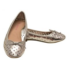L'Amour Girls Silver Perforated Ballet Flats Casual Shoes 11-4 Kids