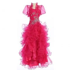 Calla Collection Big Girls Fuchsia Crystal Hi-Lo Ruffle Pageant Dress 7-14