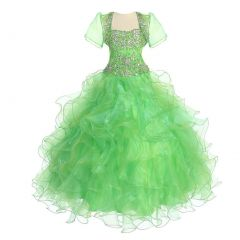 Calla Collection Big Girls Lime Crystal Ruffle Ball Pageant Dress 7-12
