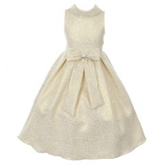 Cinderella Couture Little Girls Ivory Gold Teardrop Jacquard Pearl Dress 2-6