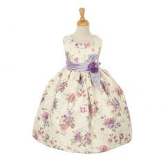 Cinderella Couture Big Girls Lavender Jacquard Bow Occasion Easter Dress 2-6