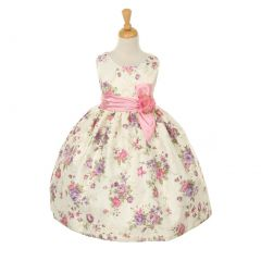 Cinderella Couture Big Girls Pink Jacquard Bow Occasion Easter Dress 8-10