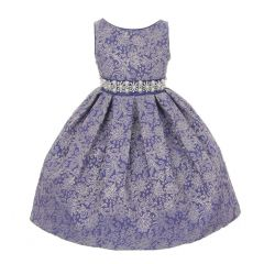 Cinderella Couture Royal Blue Metallic Embroidered Jaquard Occasion Dress 2-6