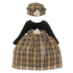 Baby Girls Black Khaki Velvet Checker Corsage Hat Christmas Dress 6-24M
