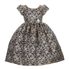 Little Girls Navy Metallic Jacquard Brooch Attached Occasion Dress 2-6