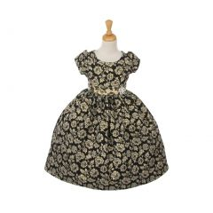 Cinderella Couture Big Girls Black Jacquard Print Broach Occasion Dress 2-6