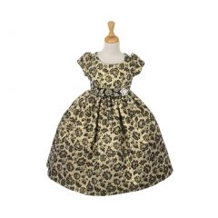 Cinderella Couture Big Girls Gold Jacquard Print Occasion Easter Dress 2-6