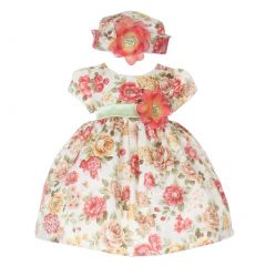 Baby Girls Orange Jacquard Floral Printed Adorned Hat Easter Dress 6-24M