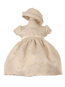 Baby Girls Ivory Champagne Two Tone Jacquard Hat Brooch Flower Girl Dress 3-24M