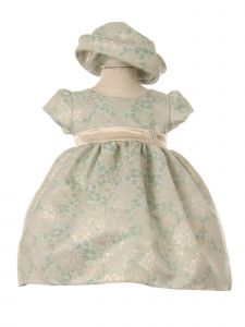 Baby Girls Sage Champagne Two Tone Jacquard Hat Brooch Flower Girl Dress 3-24M
