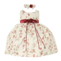 Cinderella Couture Baby Girls Burgundy Rose Jacquard Occasion Dress 6-24M